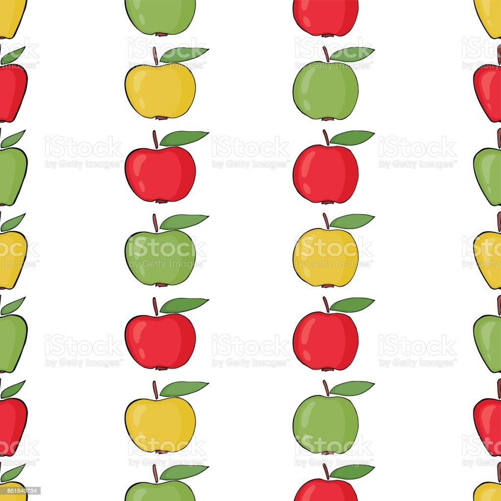 Seamless pattern background colorful apples. vector art illustration