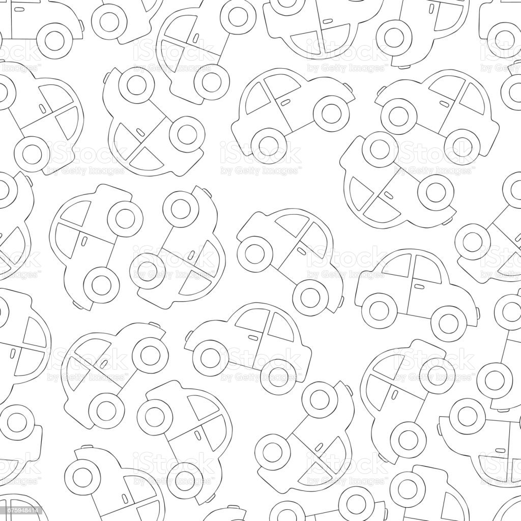 Seamless pattern background with car. Toy transport vector. Coloring book automobile. vector art illustration