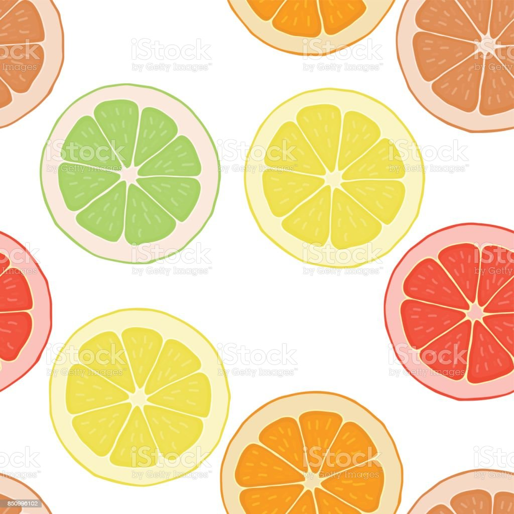 Seamless pattern background with citrus. vector art illustration
