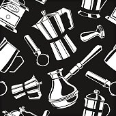 Seamless pattern background with coffee tools