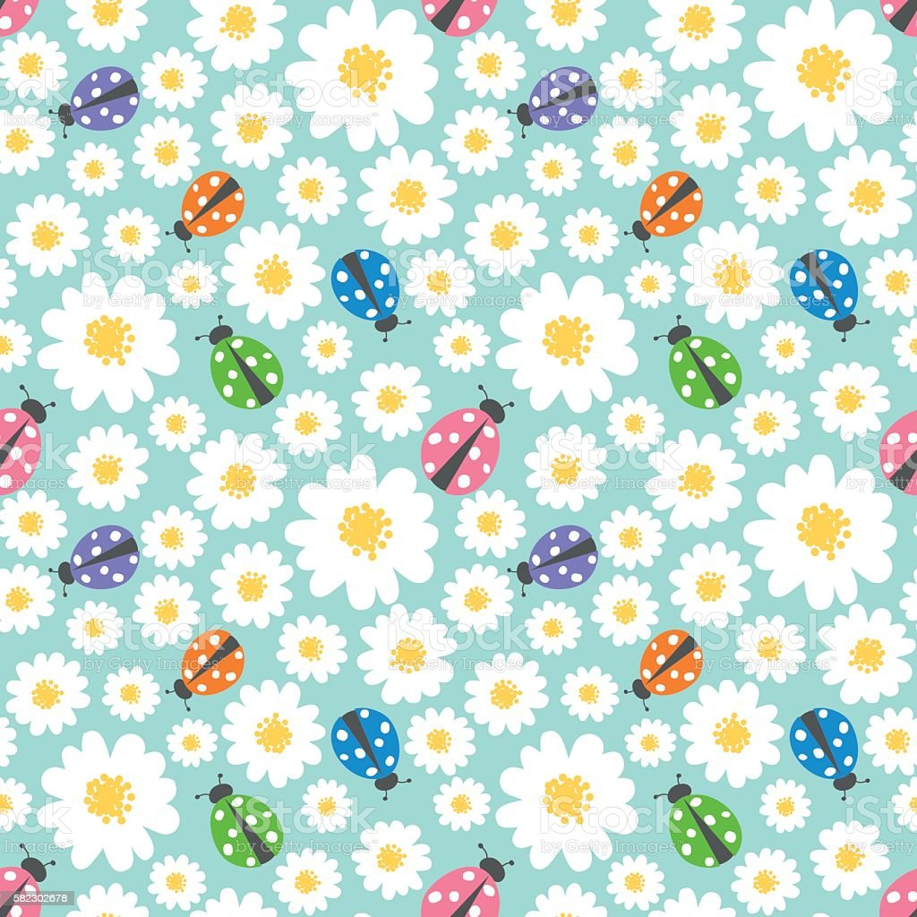 Seamless pattern background with flowers and ladybugs vector art illustration