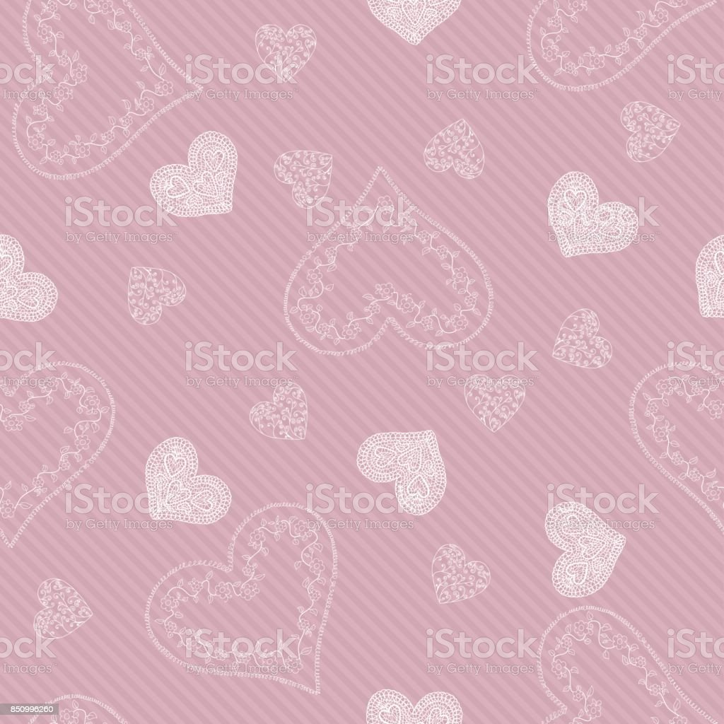 Seamless pattern background with hearts. vector art illustration