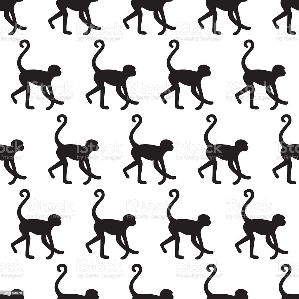 Seamless pattern background with monkeys. vector art illustration