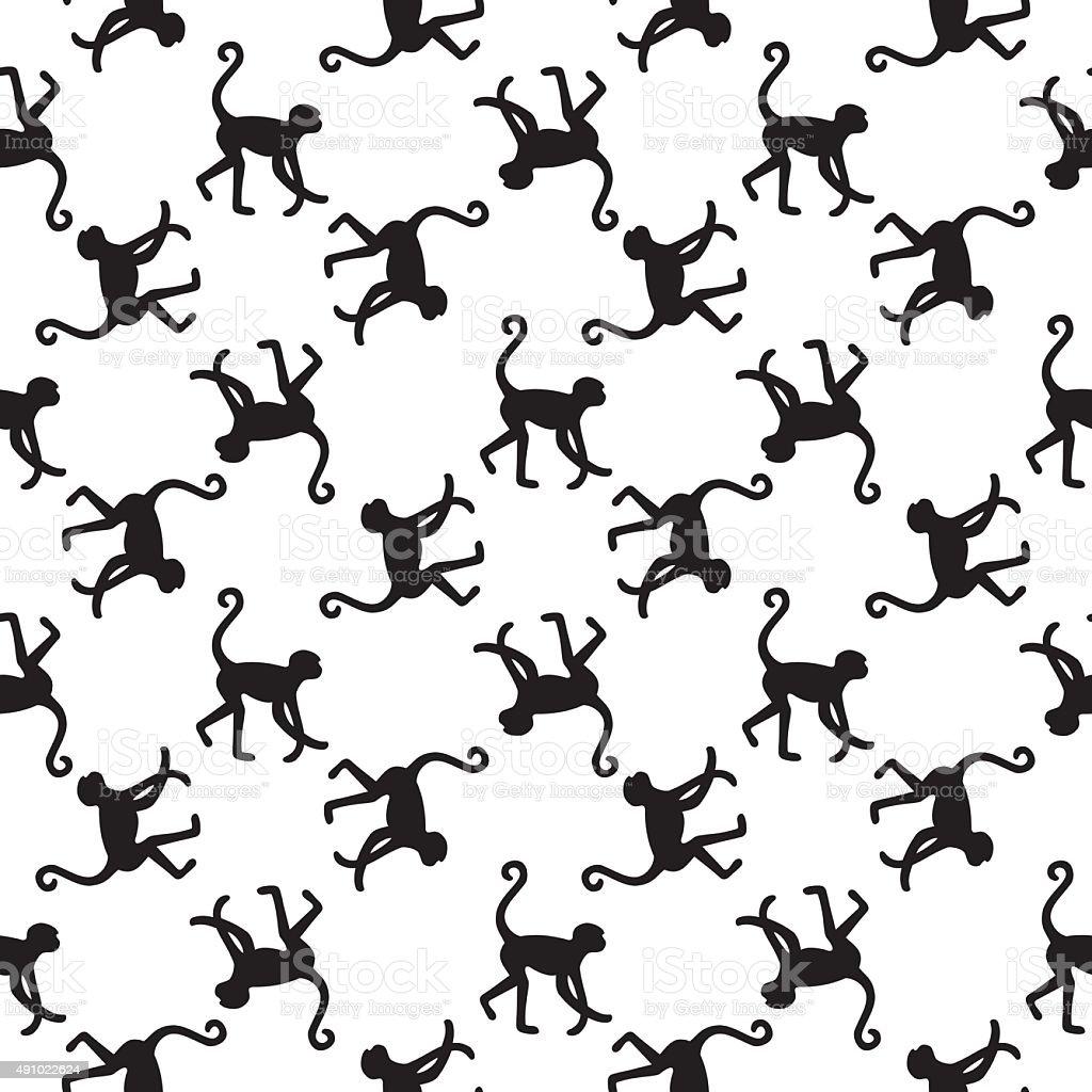 Seamless pattern background with monkeys. vector art illustration