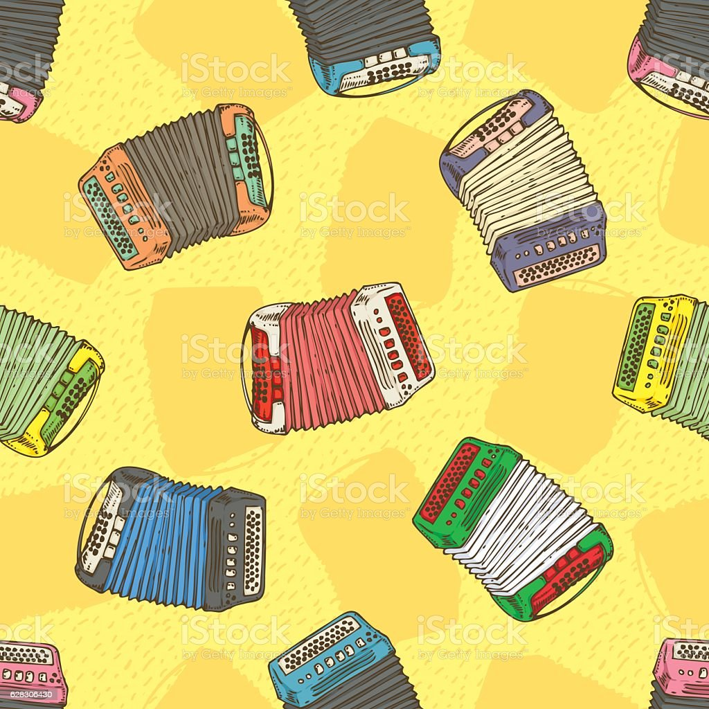 Seamless Pattern. Bayans or Accordions vector art illustration