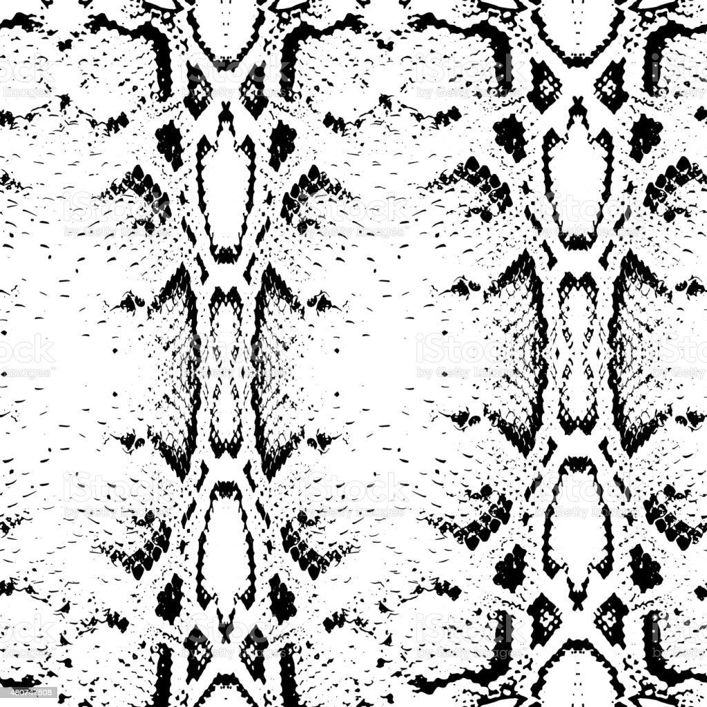 Seamless pattern black on white background. Snake skin texture. Vector vector art illustration