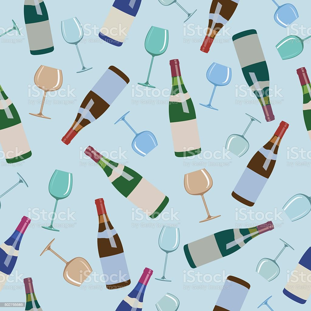 seamless pattern bottles of wine and  glasses royalty-free stock vector art