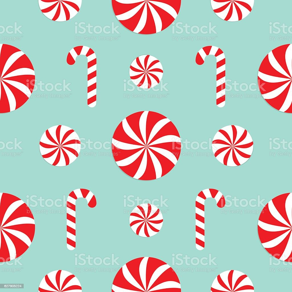 Seamless Pattern Christmas Candy Cane Round white and red sweet vector art illustration