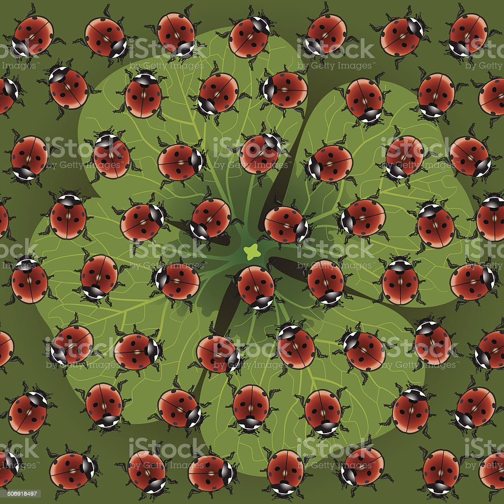 seamless pattern clover with ladybug vector art illustration