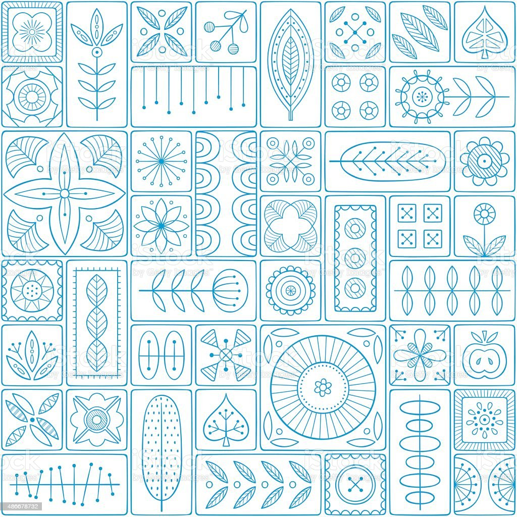 Seamless pattern consisting of tiles with Scandinavian motifs vector art illustration