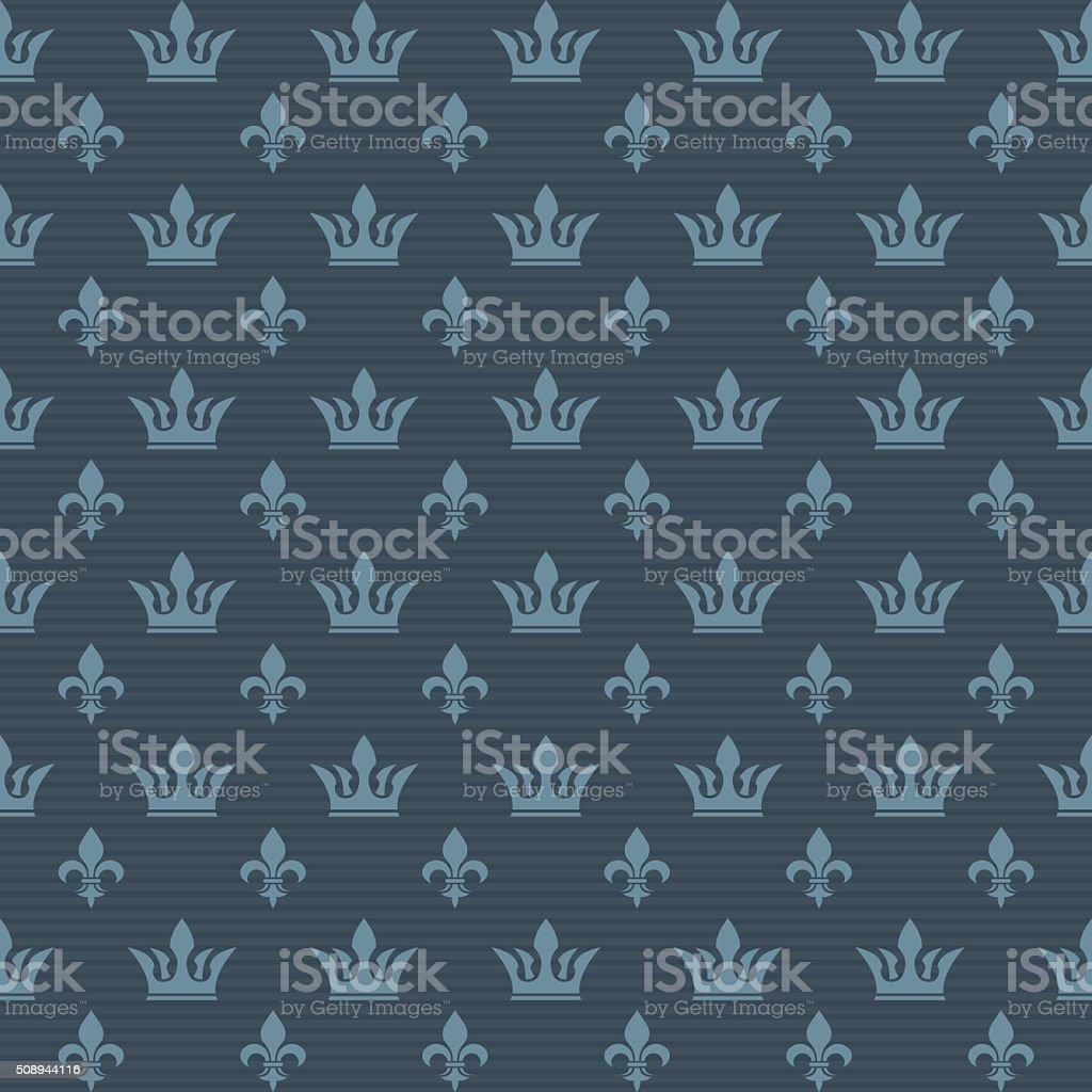 Seamless pattern crown and lily vector art illustration