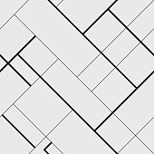 Seamless pattern diagonal polygonal rectangular lines, black and white