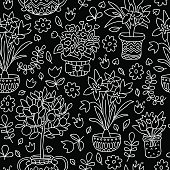 Seamless pattern doodle plants in pots, floral background