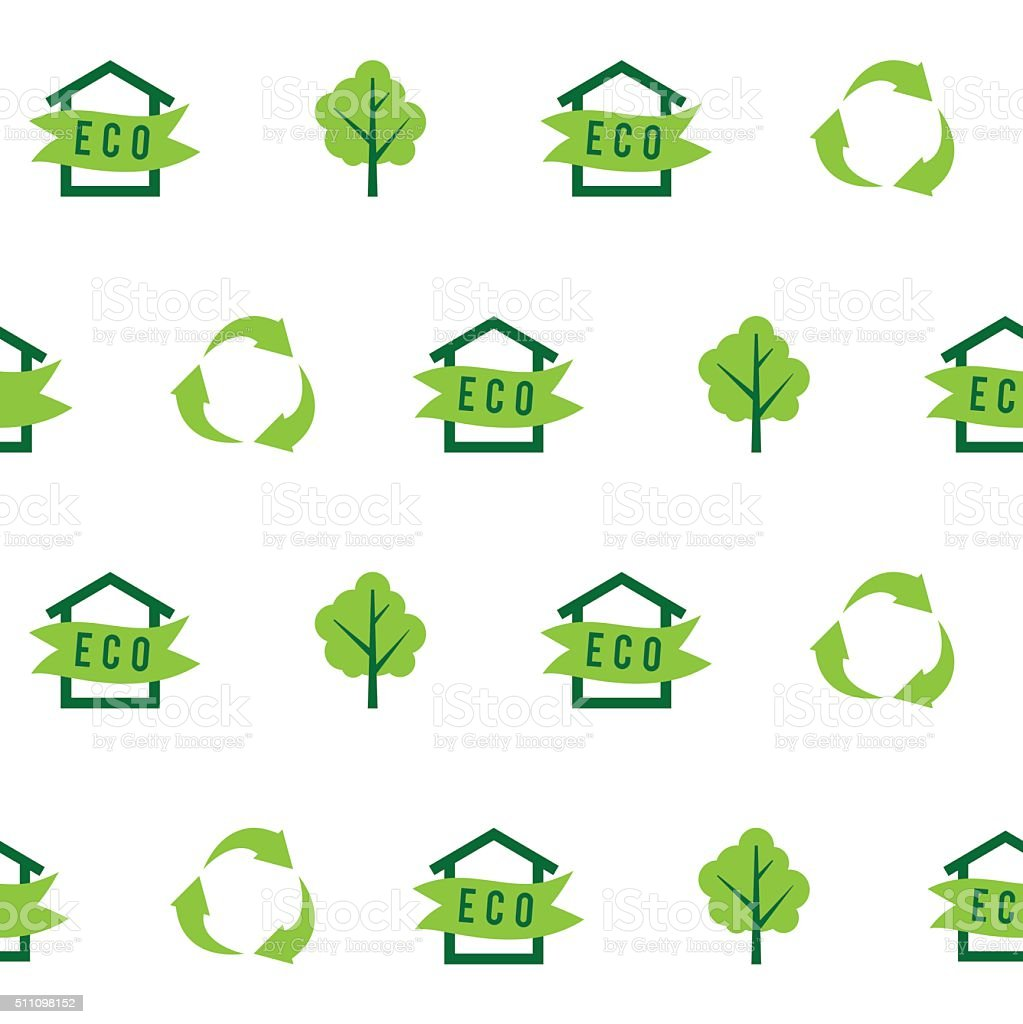 Seamless pattern eco house, green tree, recycling, ecology vector art illustration