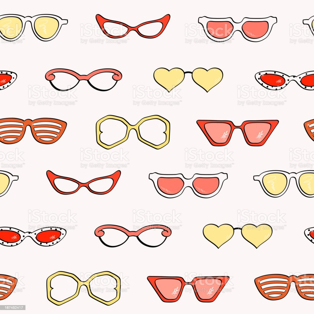 Seamless pattern, fashion isolated sunglasses set royalty-free stock vector art