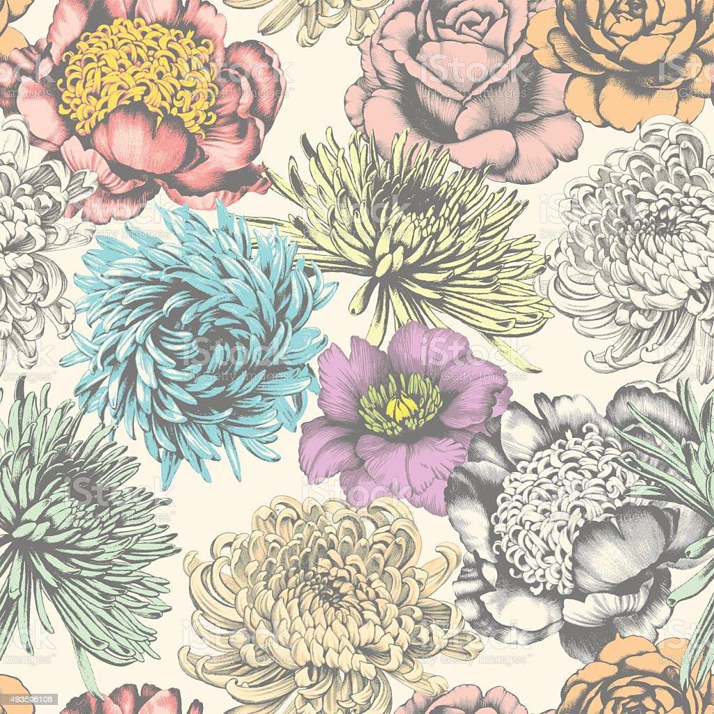 Seamless Pattern. Flowers. vector art illustration