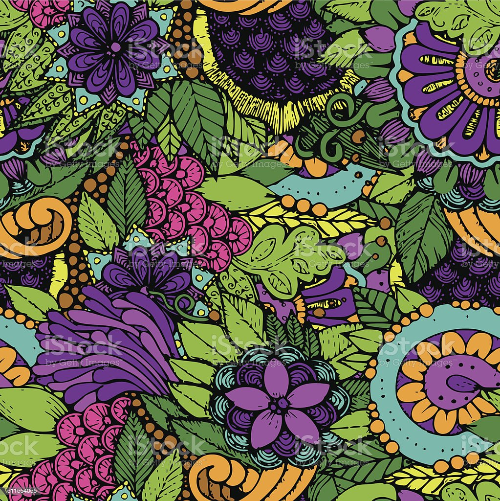seamless pattern flowers vector art illustration
