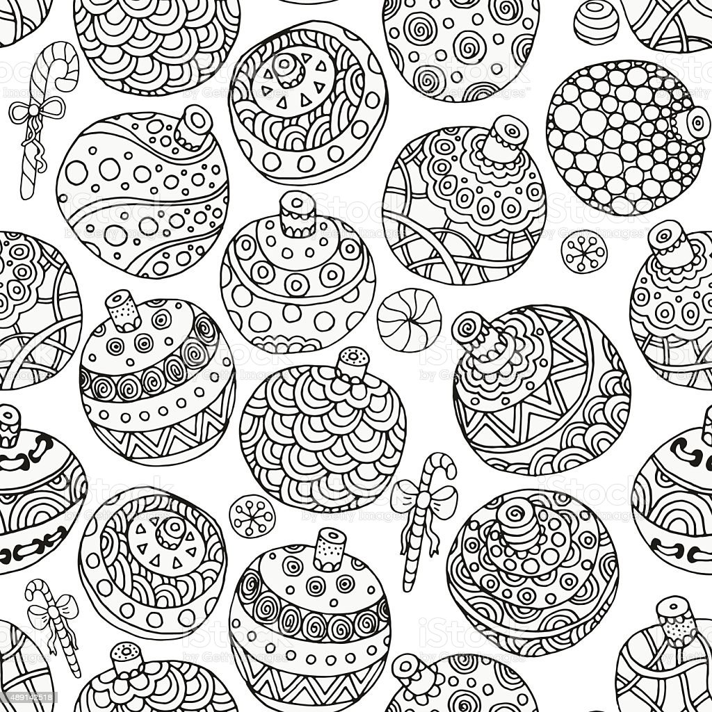 Seamless pattern for coloring book. Christmas balls vector art illustration