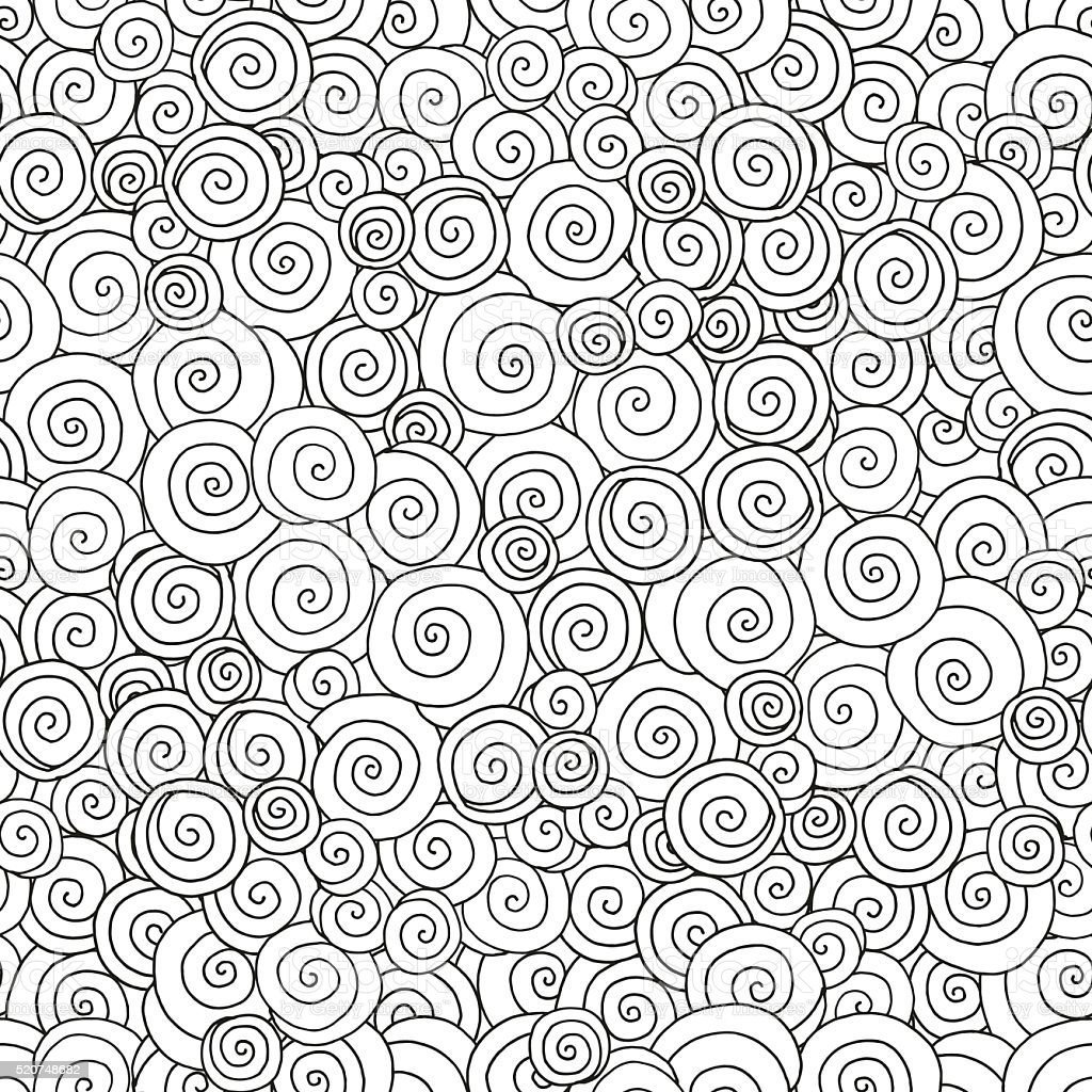 Seamless pattern for coloring book. Hand-drawn swirls, ringlets. vector art illustration