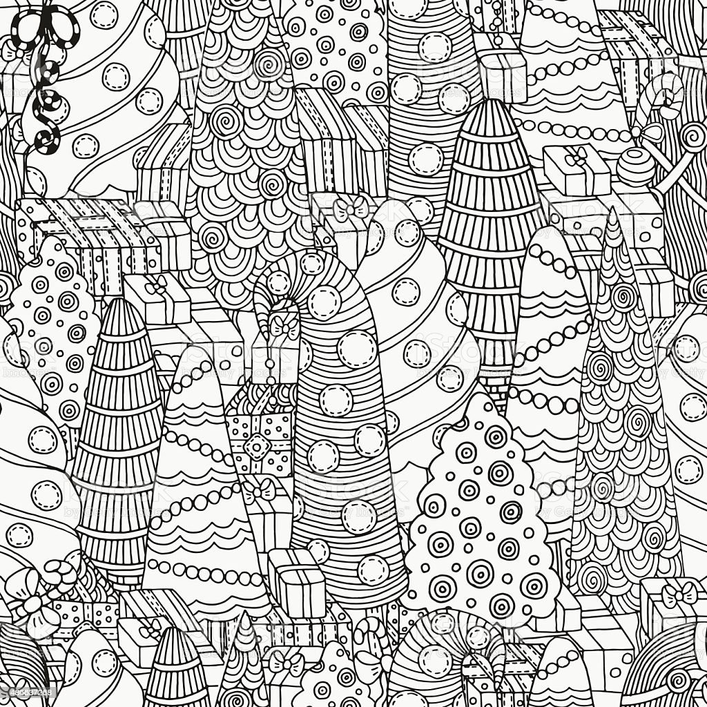 Seamless pattern for coloring book of Christmas trees vector art illustration