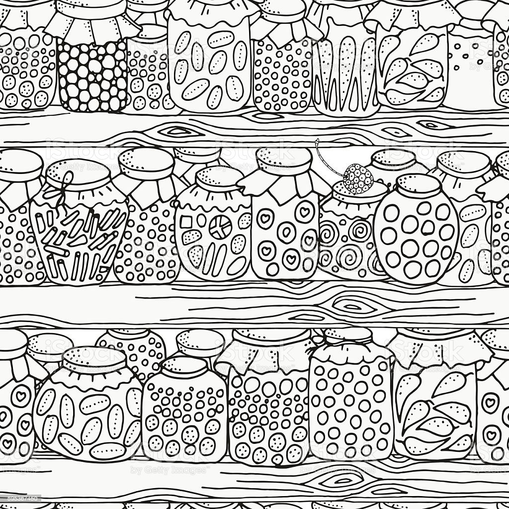 Seamless pattern for coloring book. Set of glass jars. Canning. vector art illustration