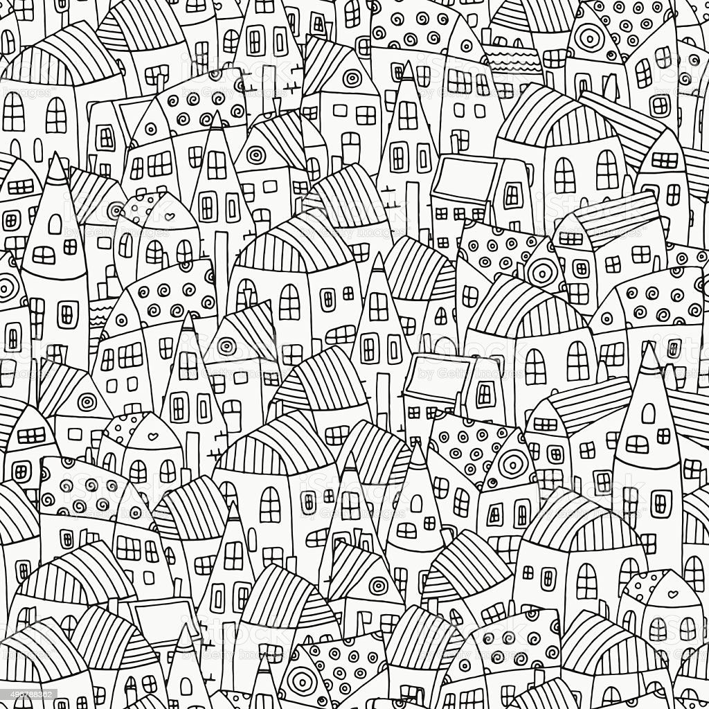 Th the magical city colouring in book - Seamless Pattern For Coloring Book With Artistically Houses Magic City Royalty Free Stock Vector