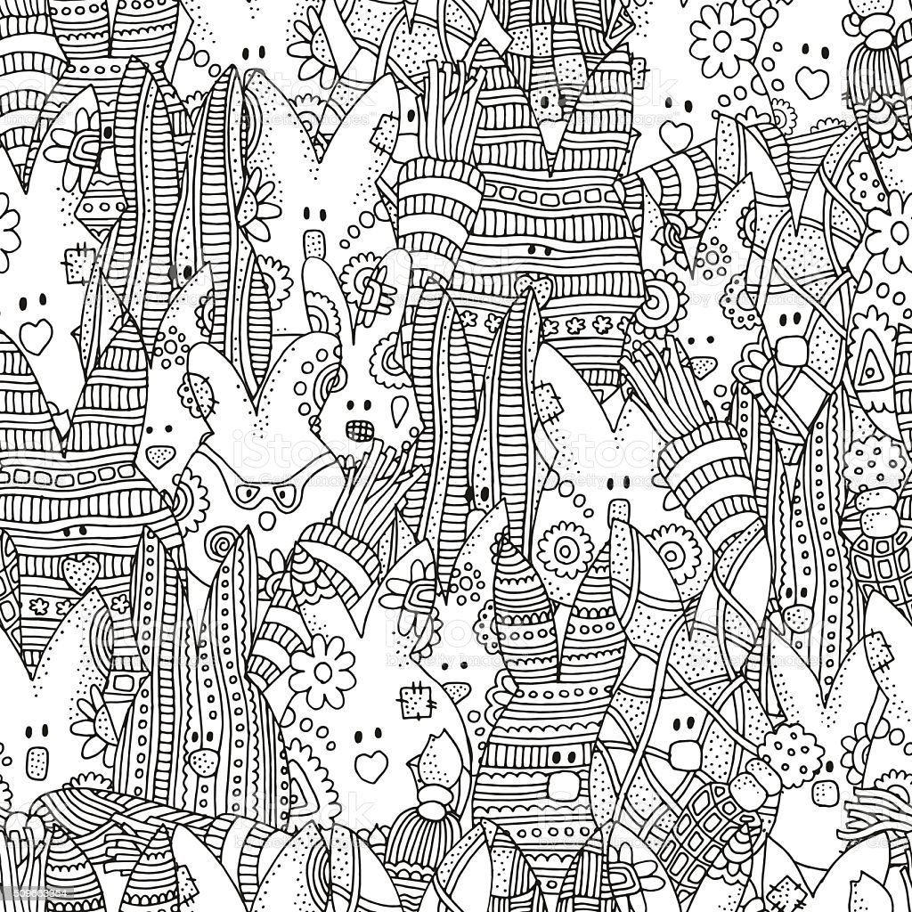 Seamless pattern for coloring book with easter rabbits. vector art illustration