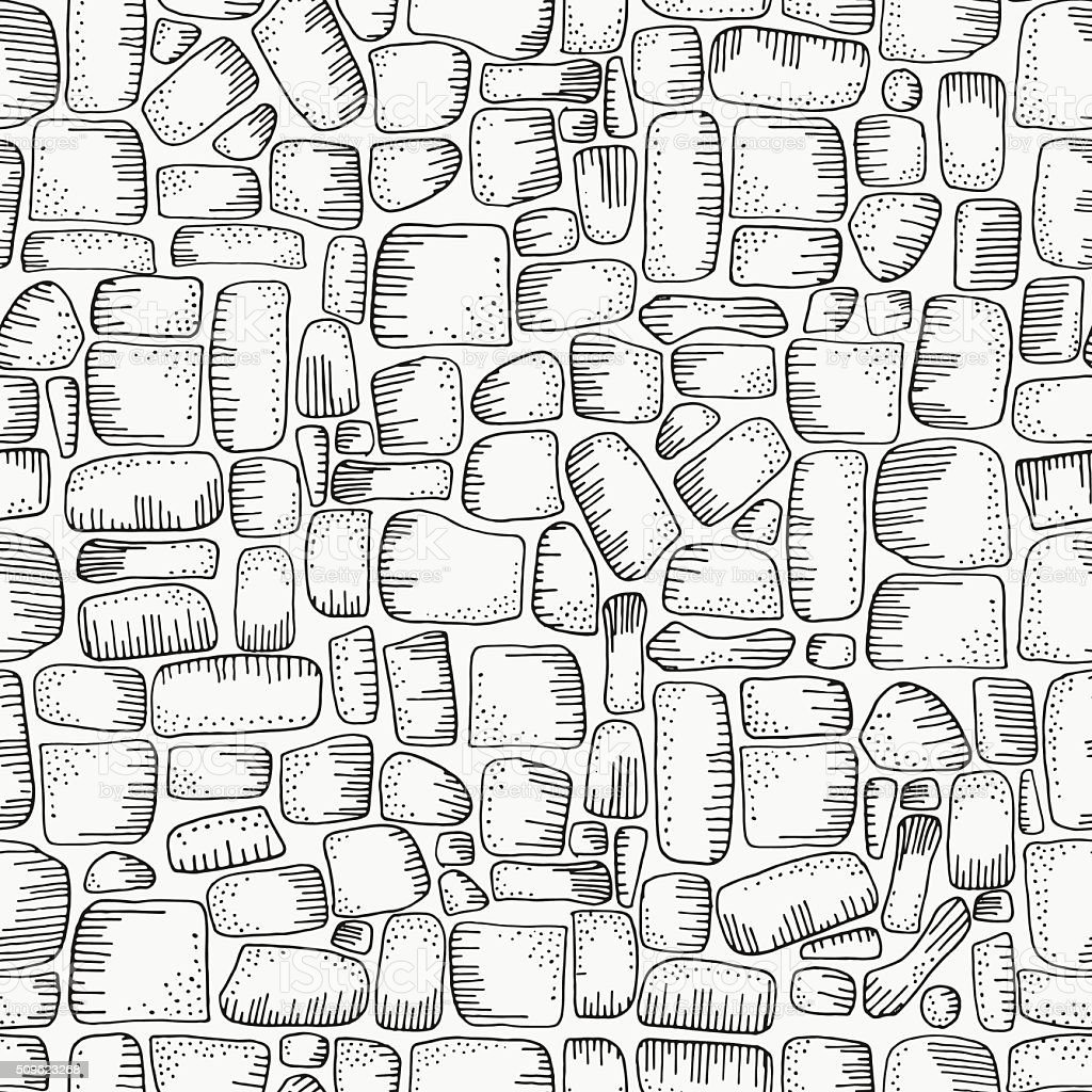 Seamless pattern for coloring book with stones. vector art illustration