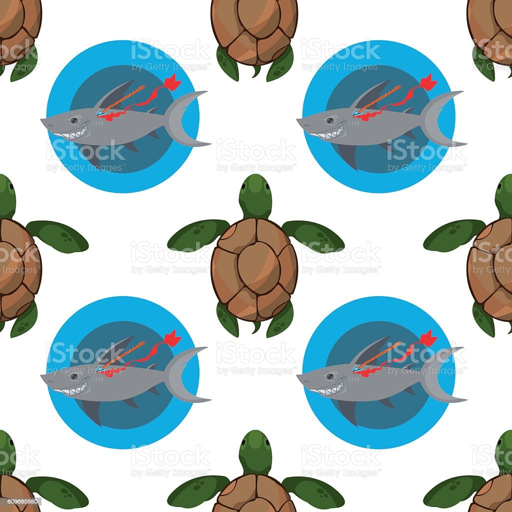 Seamless pattern for design surface Sea turtles. vector art illustration