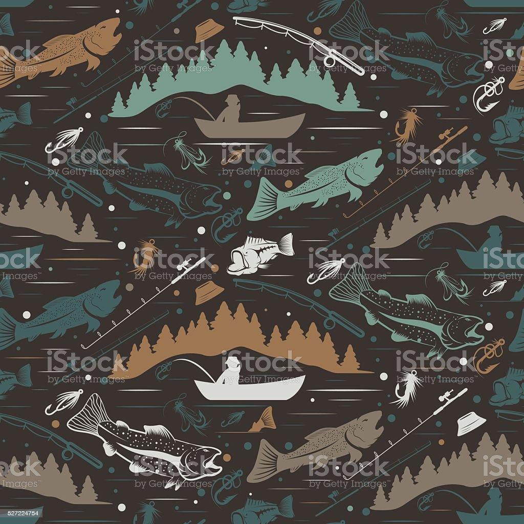 Seamless pattern for fishing theme vector art illustration