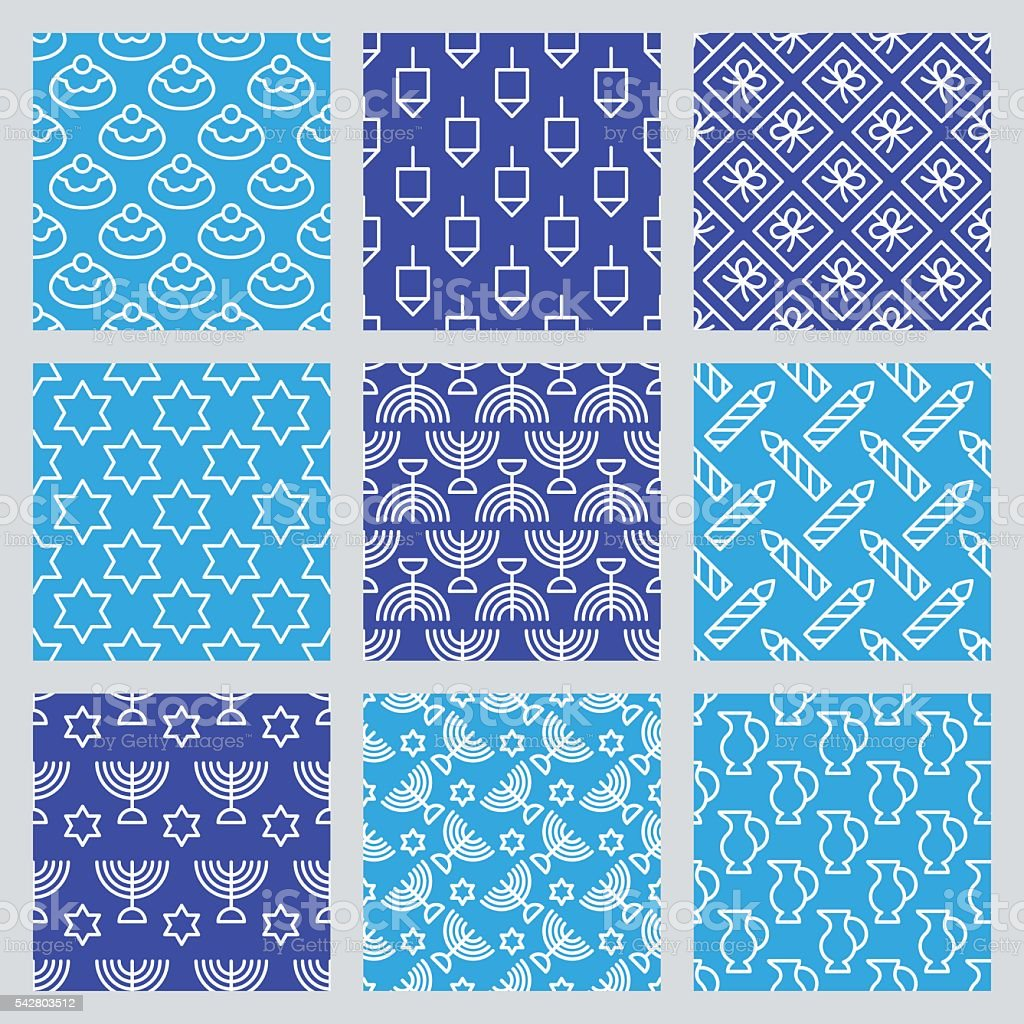 Seamless pattern for Jewish holiday Hanukkah. Vector illustration