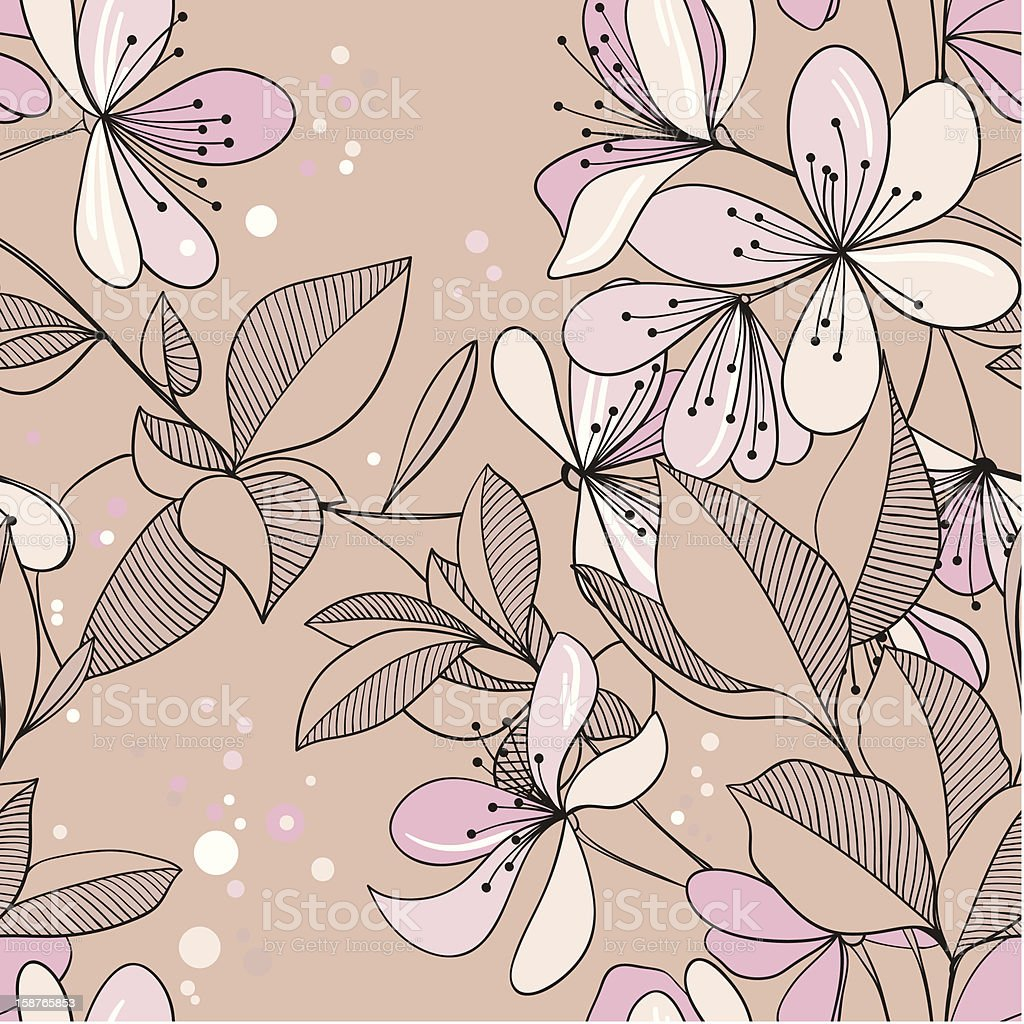 seamless pattern from blossoming Oriental cherry royalty-free stock vector art
