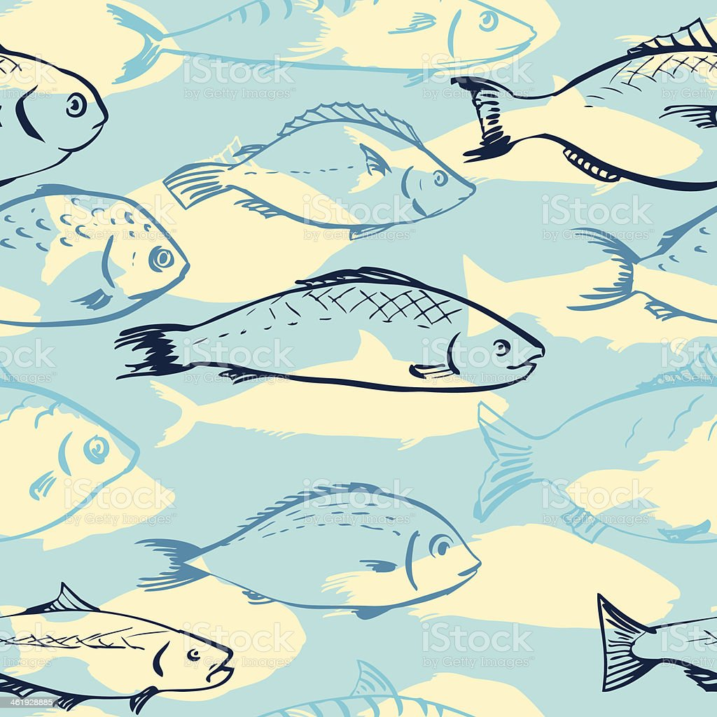 Seamless pattern from fishes royalty-free stock vector art