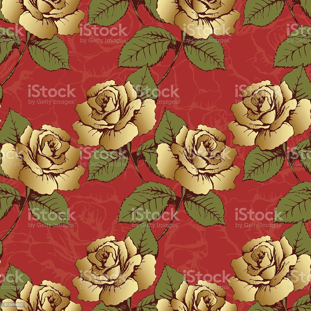 Seamless pattern from gold flowers roses. Woven flowers, buds, leaves royalty-free stock vector art
