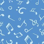Seamless pattern from hand drawn music notes. Endless vector backdrop