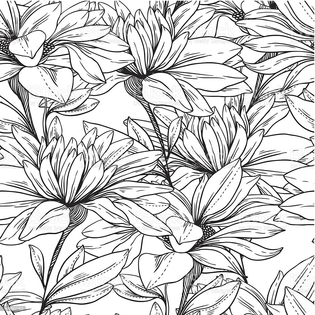 Seamless pattern from monochrome chamomiles royalty-free stock vector art