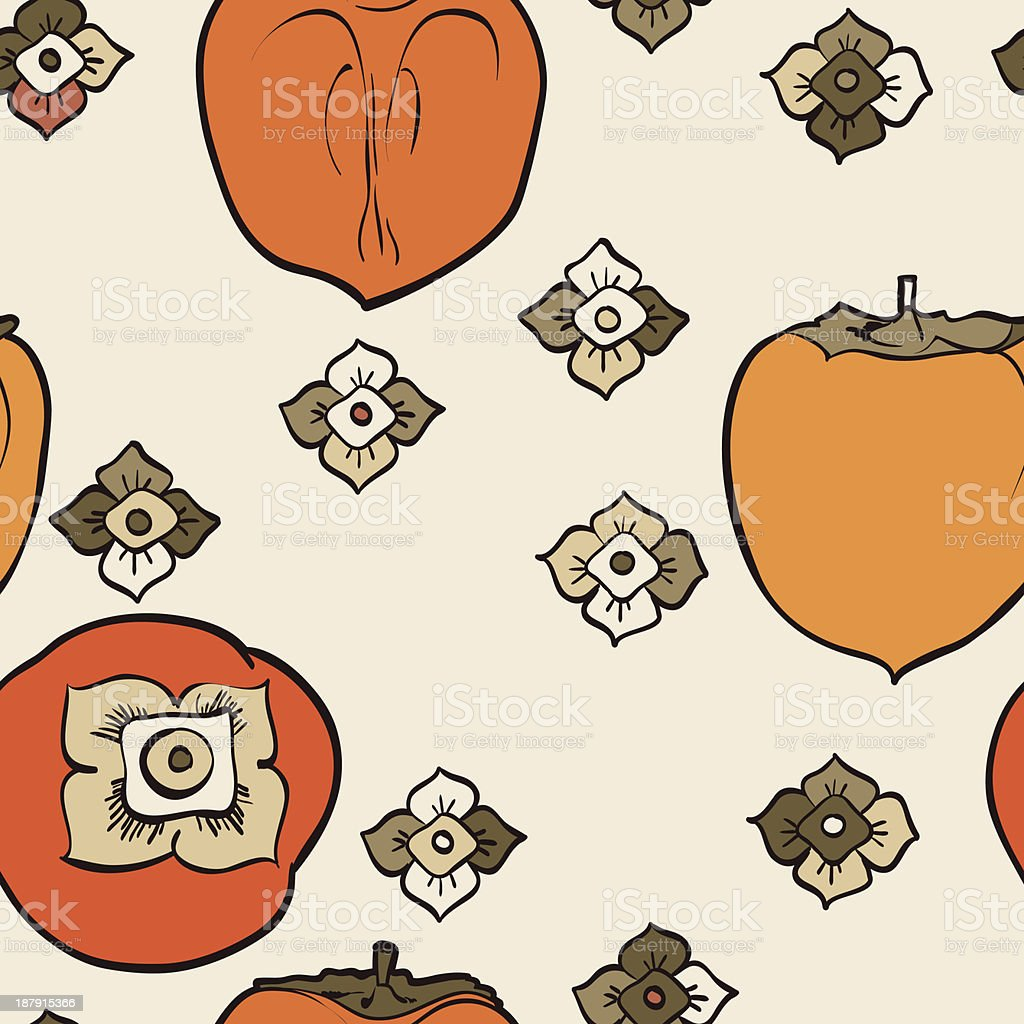 seamless pattern from orange persimmon royalty-free stock vector art
