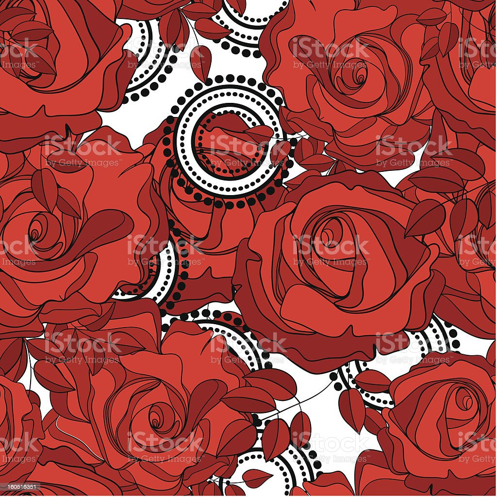 seamless pattern from red roses and abstract circles royalty-free stock vector art