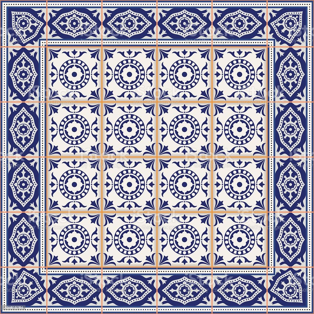 Seamless  pattern from tiles and border. Moroccan, Portuguese, Azulejo ornaments. vector art illustration