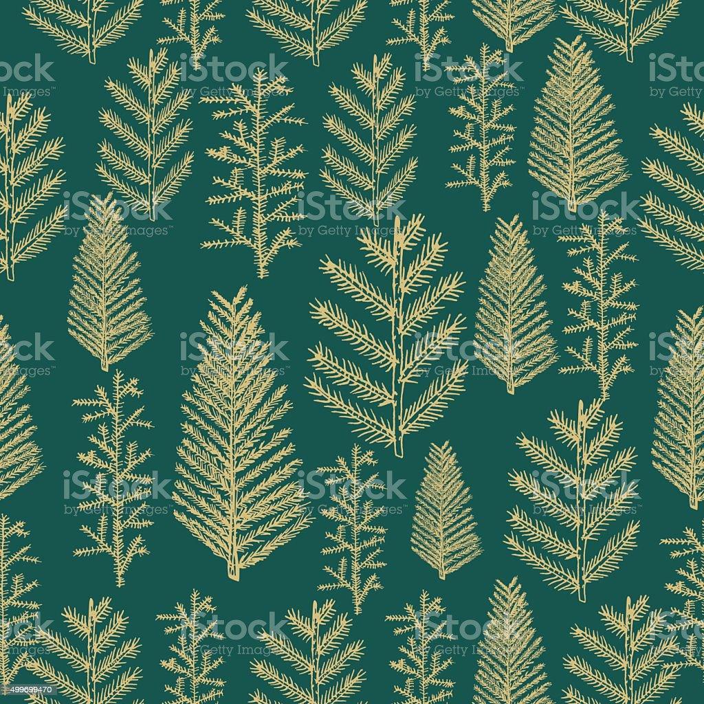 Seamless pattern gold christmas tree vector art illustration