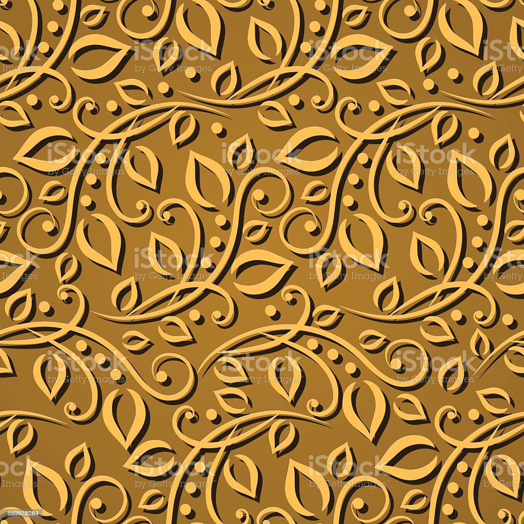 Seamless pattern gold leaves. Elegant  texture for wallpapers. Vector illustration vector art illustration
