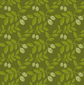 Seamless pattern Green olives, Olive endless background, texture, wallpaper. Vector