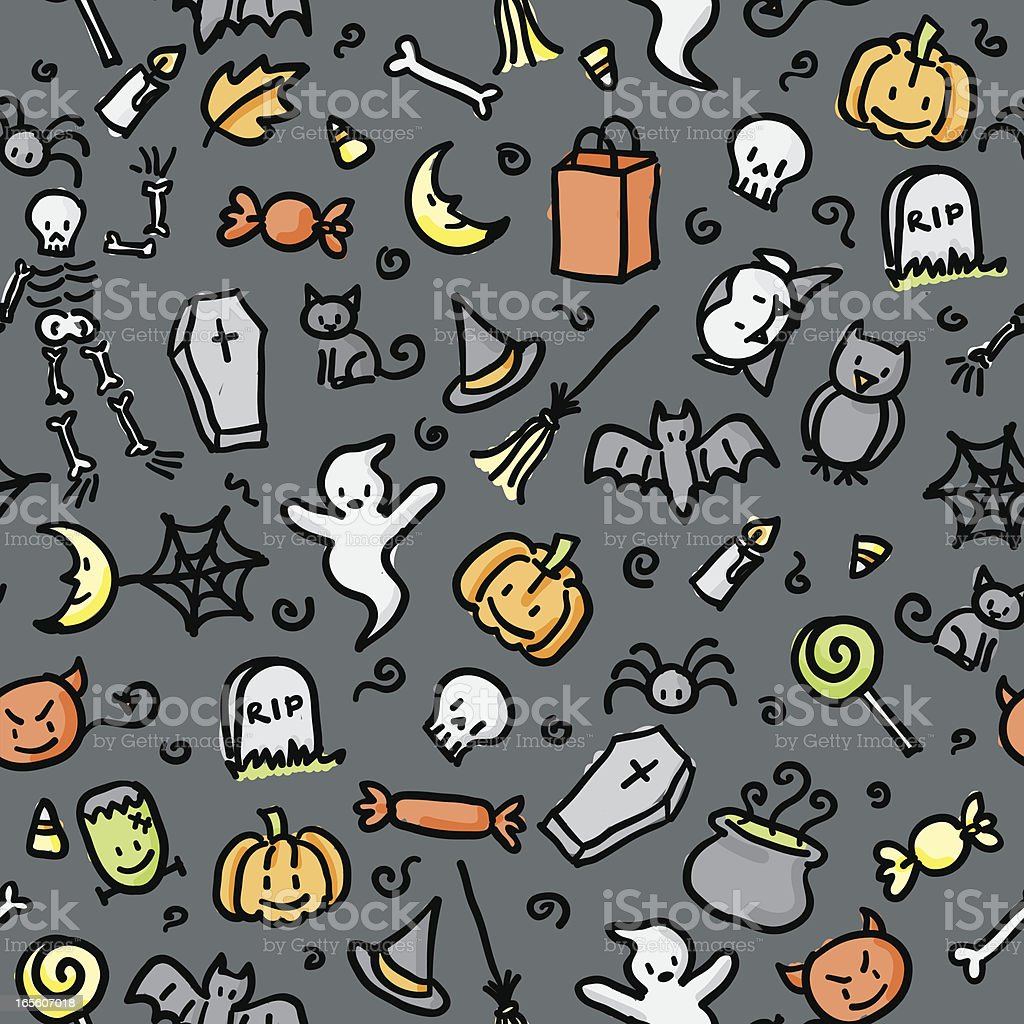 seamless pattern: halloween (color) royalty-free stock vector art