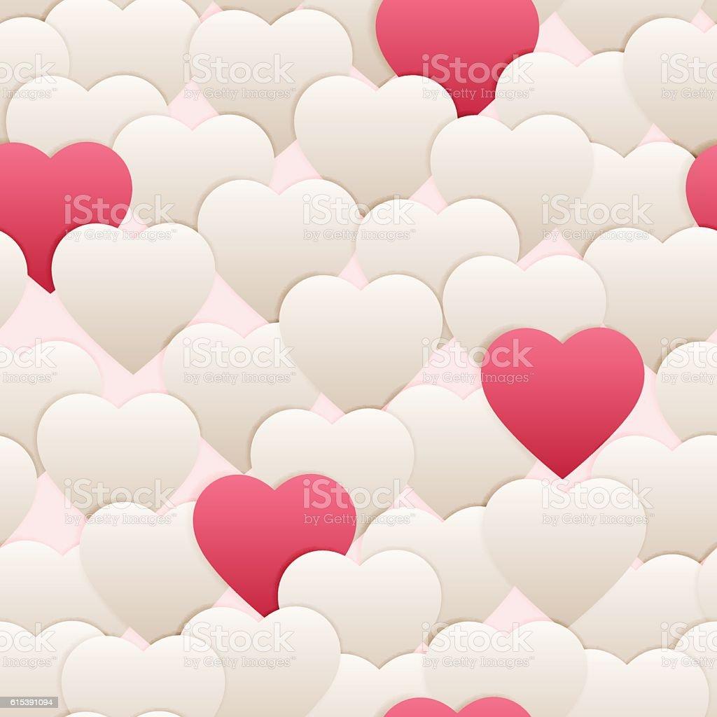 seamless pattern hart white pink vector art illustration