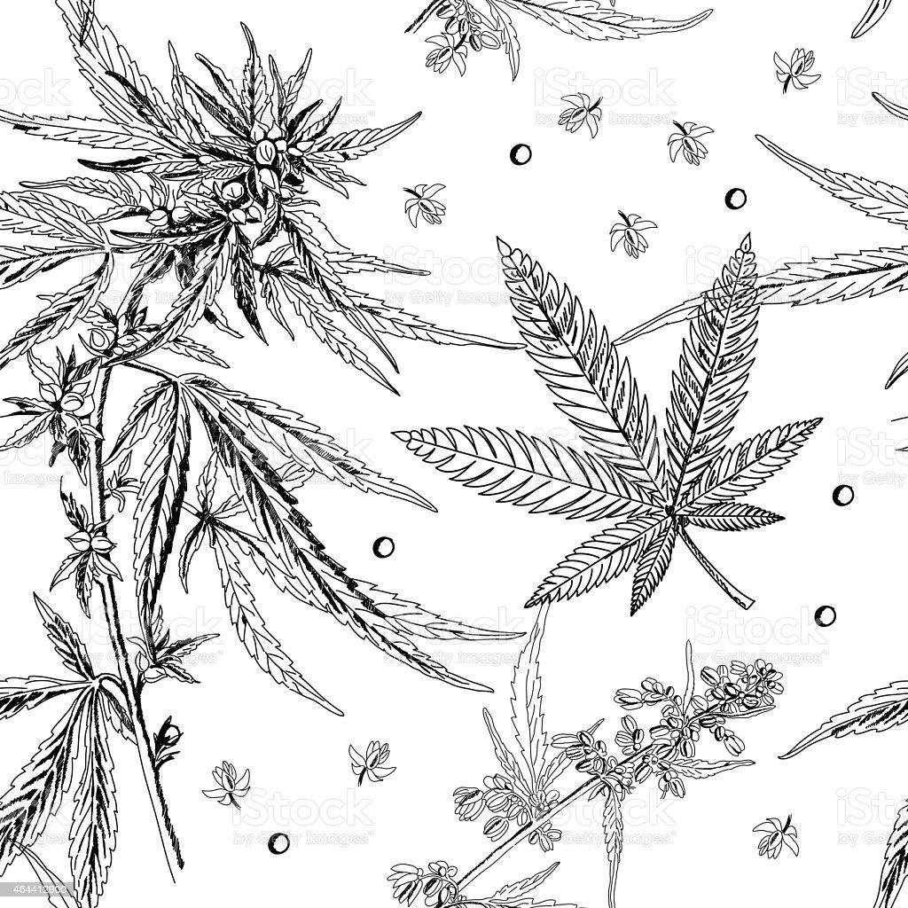 Seamless pattern, hemp, marijuana, black and white vector art illustration