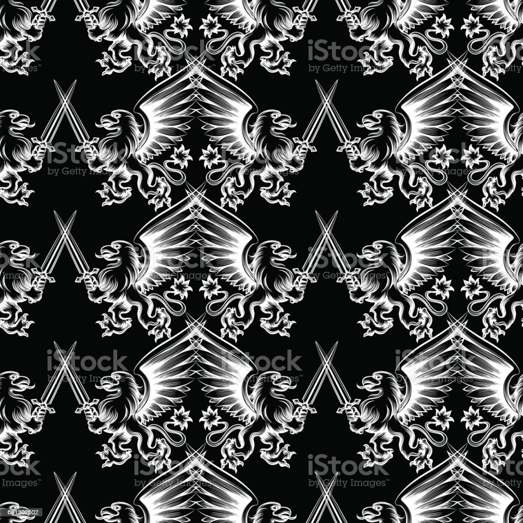 Seamless pattern heraldic gryphon vector art illustration