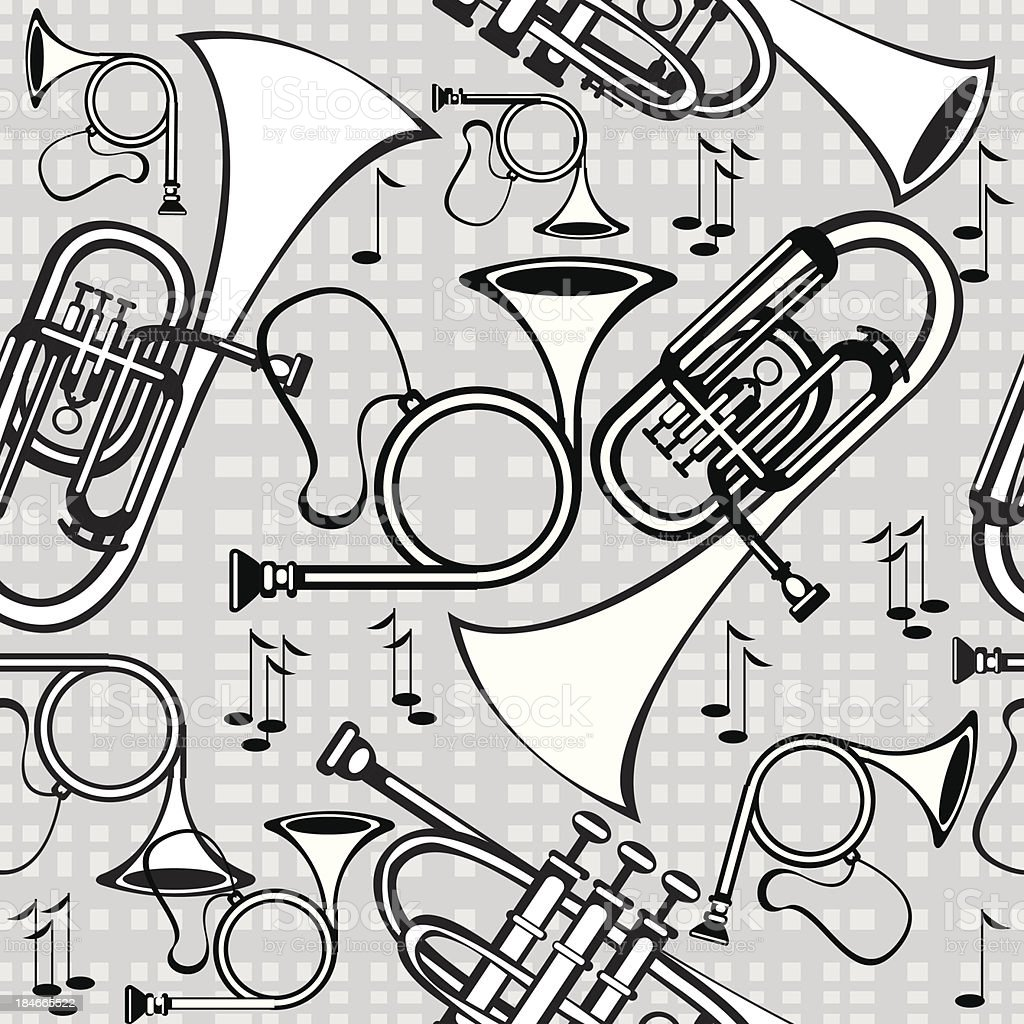 seamless pattern horns on gray background royalty-free stock vector art