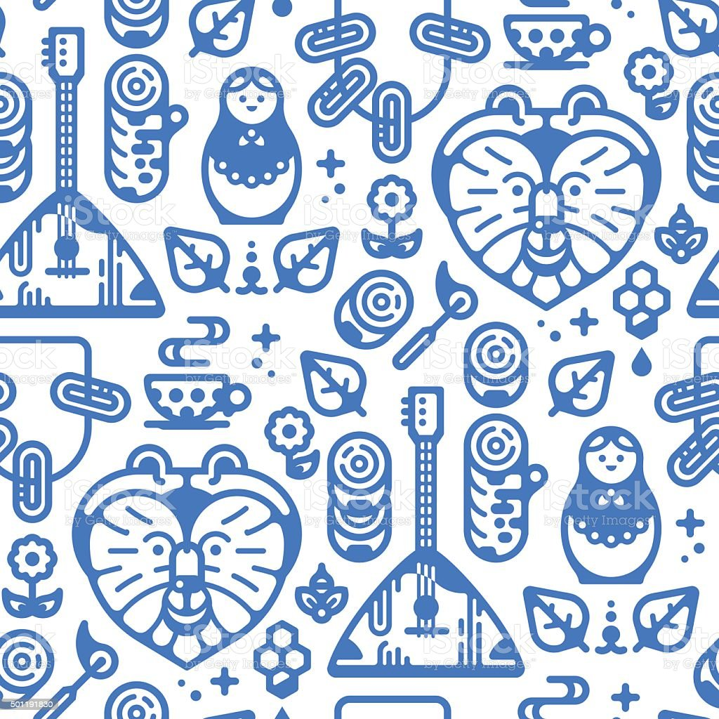 Seamless Pattern in Russian Style vector art illustration