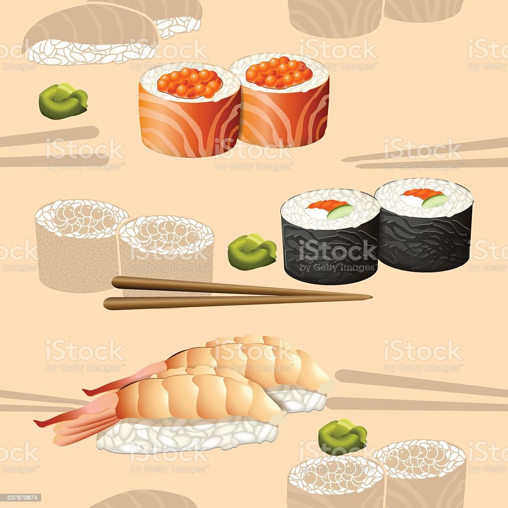 seamless pattern japanese cuisine silhouette sushi vector art illustration