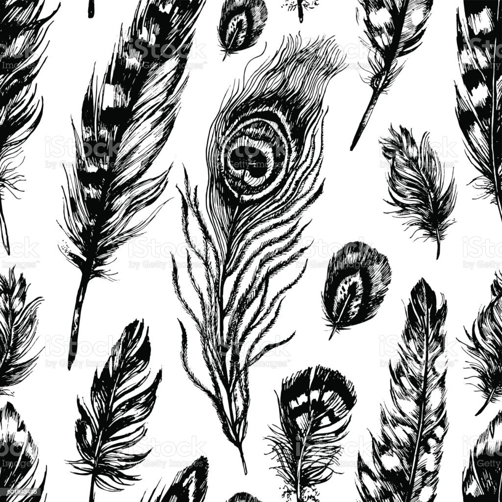 Seamless pattern made of feathers vector art illustration